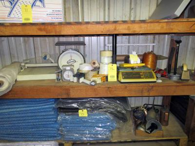 LOT OF SHIPPING SUPPLIES: scales, tape, twine, plastic wrap holders, plastic, etc.
