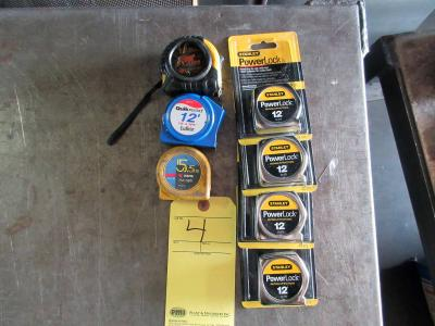 LOT OF TAPE MEASURES: (4) 7 x 12' (new) & (3) used