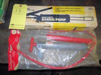 LOT CONSISTING OF: H.D. barrel pump (new in box) & Handy Mate suction hand pump
