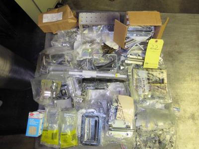 LOT OF METAL/WOOD TOOLBOX ACCESSORIES: hinges, handles, clasps, etc.