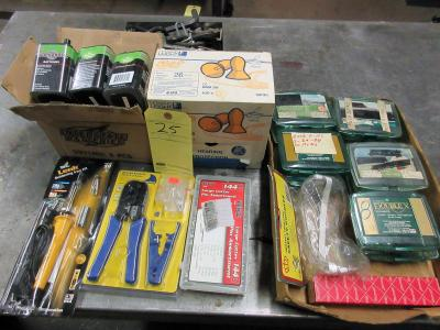 LOT CONSISTING OF: soldering gun, Network wire crimping tool, (9) 1.5v batteries, reusable ear plugs (new), safety googles, (10) nut & bolt holders, (144) assorted cotter pins