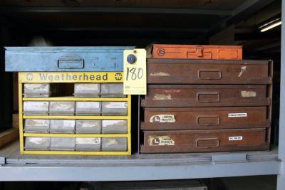 LOT OF ORGANIZER CASES, w/contents of stainless hardware, roll pins, woodruff keys, etc.
