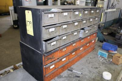 LOT OF BENCH TOP CABINETS, w/assorted drill bits