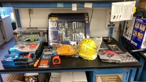 LOT OF ASSTD TOOLS: SOCKET SET, 100 PIECE MECHANIC SETS, PICK AND HOOKS, (3) PLASTIC TOOL BOXES PLUS ASST'D TOOLS