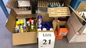 LOT OF ASSTD CLEANING SUPPLIES: GLASS CLEANERS, HAND SANITIZER, SOAP, LUBRICANT OIL, SPRAY GEL, MASSAGE OIL, SUPERIOR LUBRICANT, AND POND FOAMAPPROX 10 BOXES
