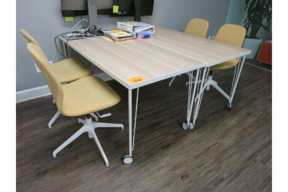 LOT] Office furniture including (2) meeting/work table with ...