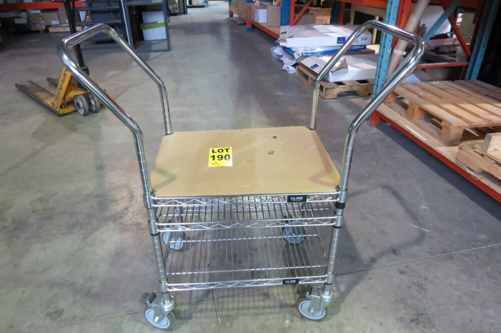 ULINE dual handled 3-level cart on casters // Chariot 3