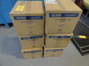 NEW Uline lab coats, (50) Large and (100) Xtra Large